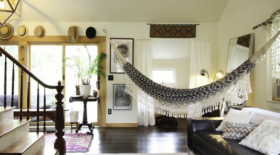 Homestead 33 a barn modern bohemian escape escape for Living room hammock